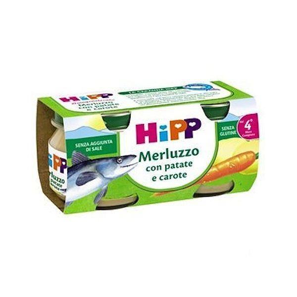 HIPP OMO PESCE MERLUZZO PATATE/CAROTE GR80X2