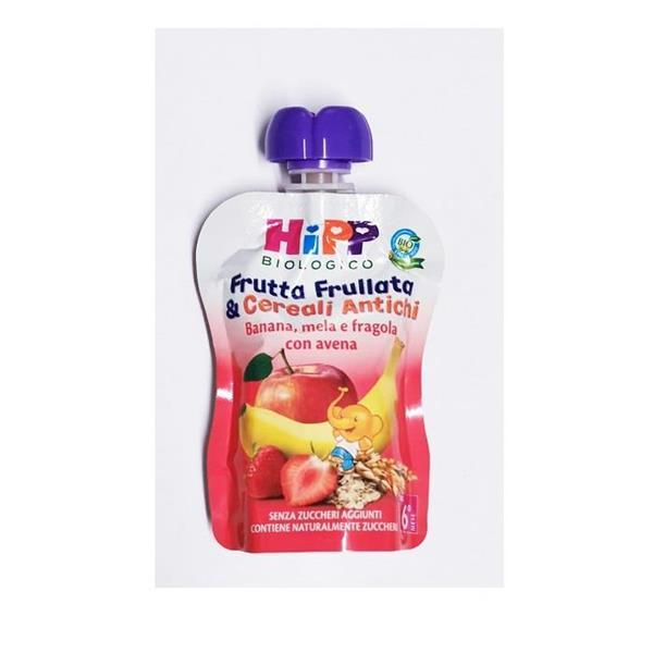 HIPP FRUTTA FRULLATA&CEREALI BAN/MELA/FRAG/AVENA 90G