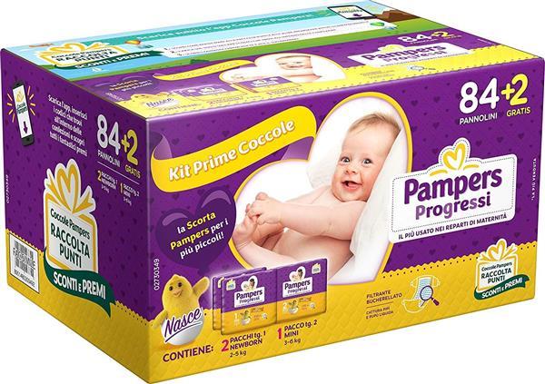 PAMPERS  PROGRESSI PANNOLINI KIT 86 PZ 1/2 MISURA